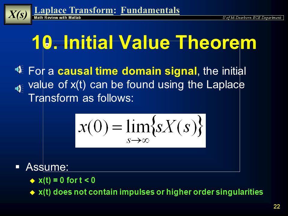 Laplace Transform: X(s) Fundamentals 21 9.