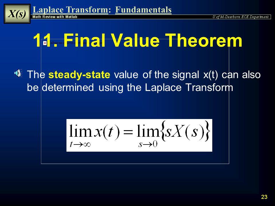 Laplace Transform: X(s) Fundamentals 22 10.