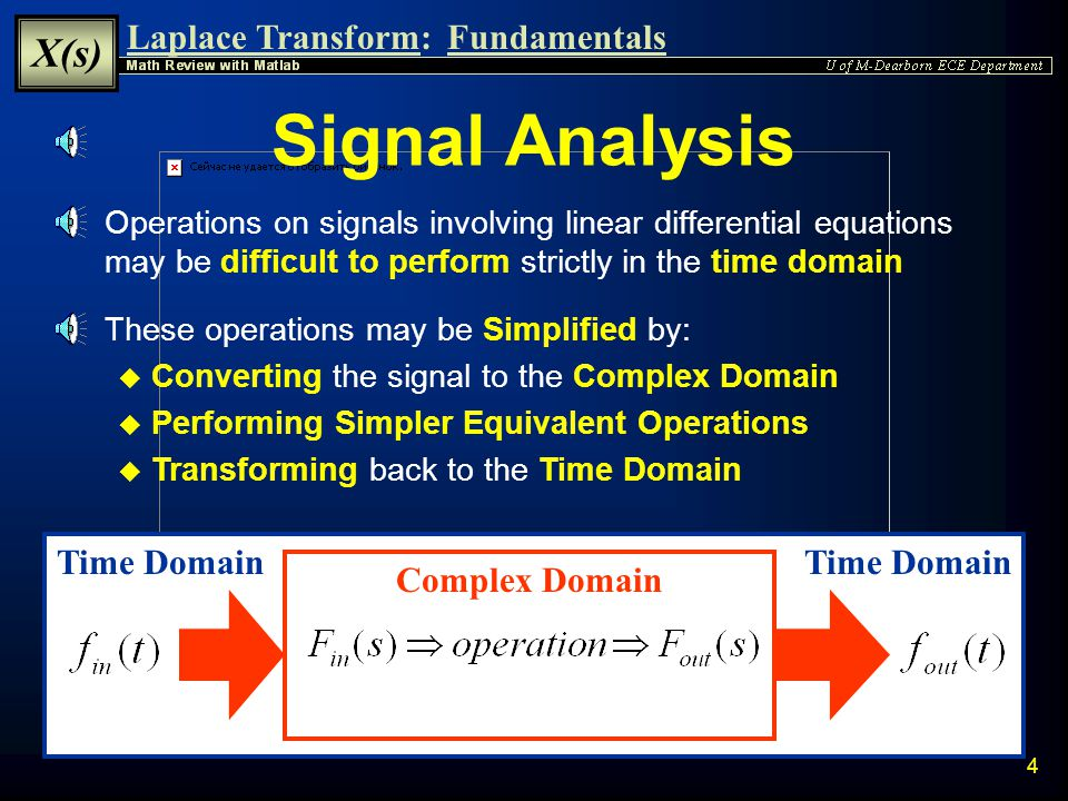 Laplace Transform: X(s) Fundamentals 3 Introduction  The Laplace Transform is a tool used to convert an operation of a real time domain variable (t) into an operation of a complex domain variable (s)  By operating on the transformed complex signal rather than the original real signal it is often possible to Substantially Simplify a problem involving: u Linear Differential Equations u Convolutions u Systems with Memory