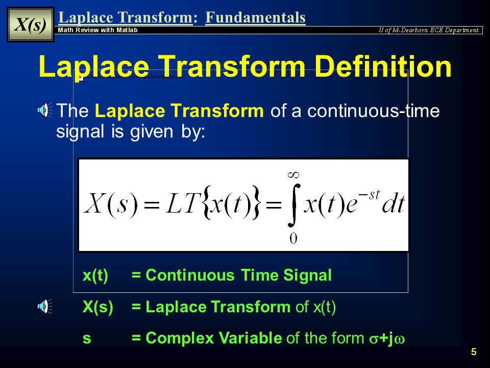 Laplace Transform: X(s) Fundamentals 4 Time Domain Operation Signal Analysis  Operations on signals involving linear differential equations may be difficult to perform strictly in the time domain  These operations may be Simplified by: u Converting the signal to the Complex Domain u Performing Simpler Equivalent Operations u Transforming back to the Time Domain Complex Domain