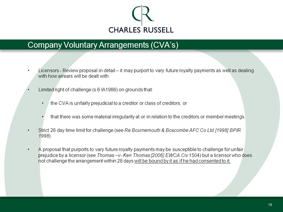 Company Voluntary Arrangements (CVA's) Licensors - Review proposal in detail – it may purport to vary future royalty payments as well as dealing with