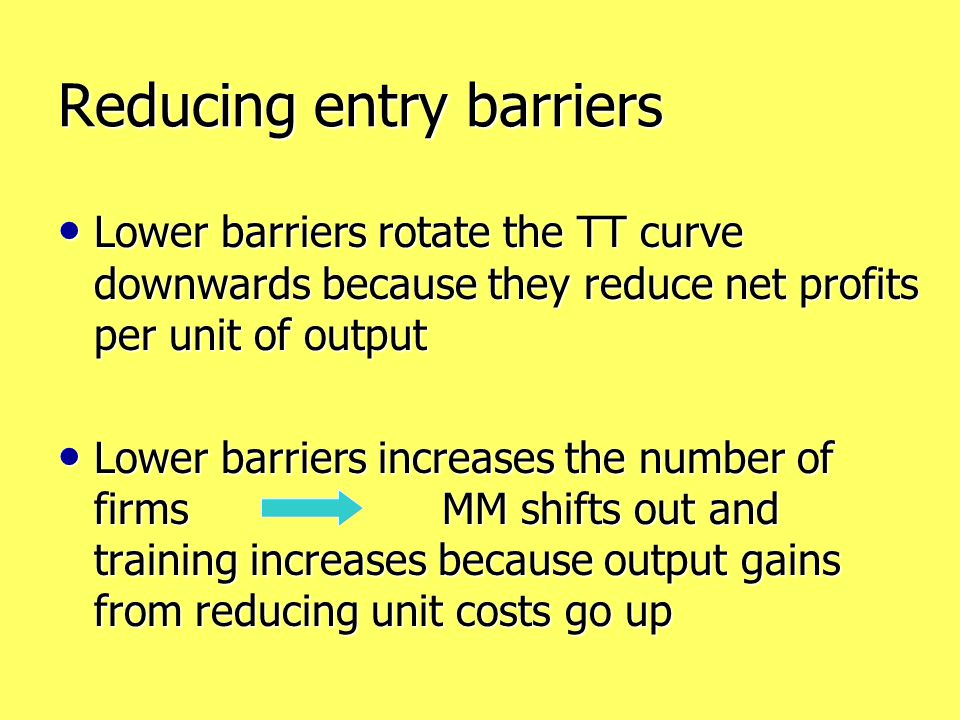 Reducing entry barriers Lower barriers rotate the TT curve downwards because they reduce net profits per unit of output Lower barriers rotate the TT curve downwards because they reduce net profits per unit of output Lower barriers increases the number of firms MM shifts out and training increases because output gains from reducing unit costs go up Lower barriers increases the number of firms MM shifts out and training increases because output gains from reducing unit costs go up