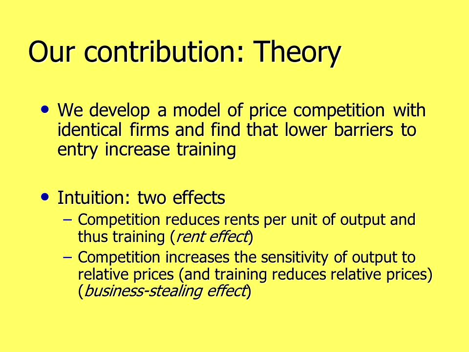 Our contribution: Theory We develop a model of price competition with identical firms and find that lower barriers to entry increase training We develop a model of price competition with identical firms and find that lower barriers to entry increase training Intuition: two effects Intuition: two effects –Competition reduces rents per unit of output and thus training (rent effect) –Competition increases the sensitivity of output to relative prices (and training reduces relative prices) (business-stealing effect)