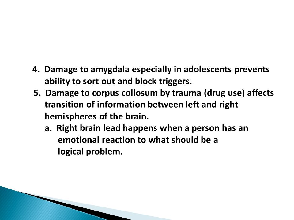 4. Damage to amygdala especially in adolescents prevents ability to sort out and block triggers.