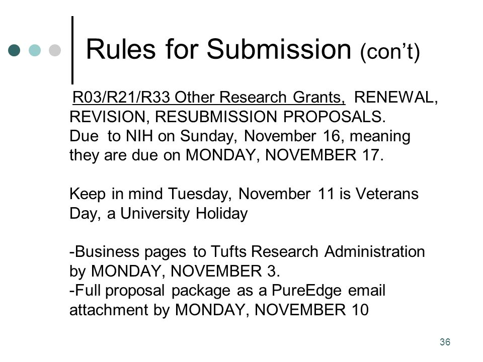 36 Rules for Submission (con't) R03/R21/R33 Other Research Grants, RENEWAL, REVISION, RESUBMISSION PROPOSALS.