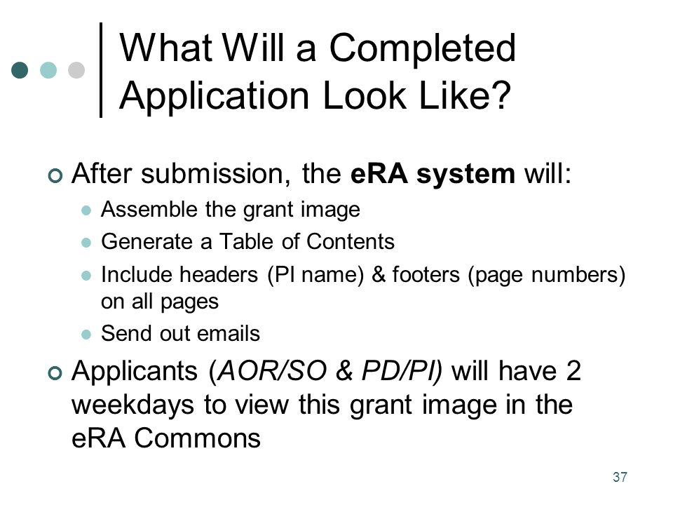 37 What Will a Completed Application Look Like.