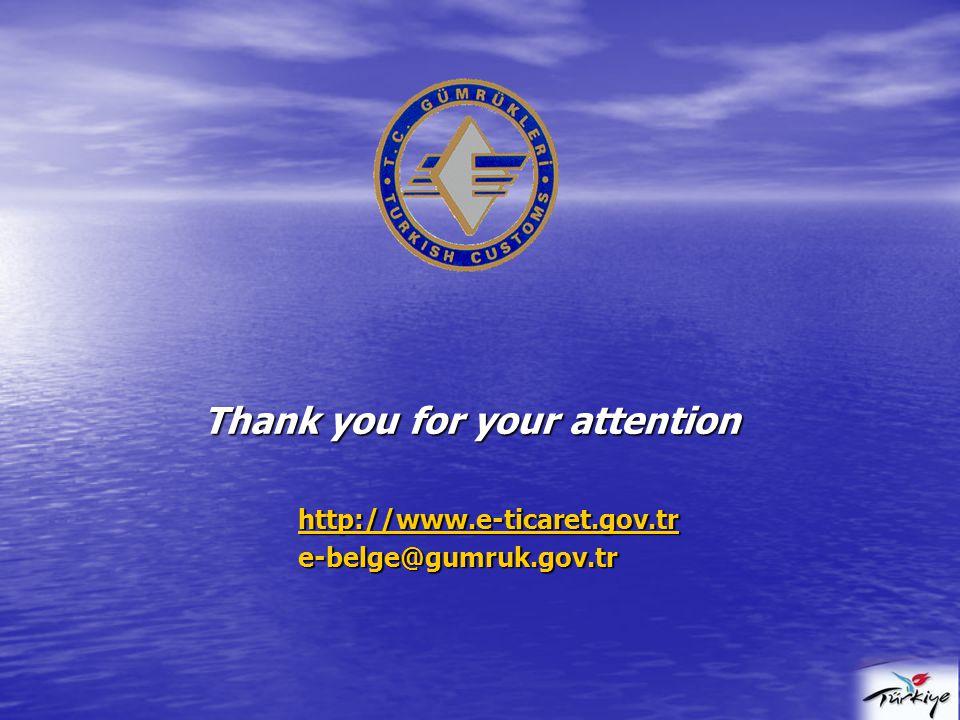 Thank you for your attention http://www.e-ticaret.gov.tr e-belge@gumruk.gov.tr