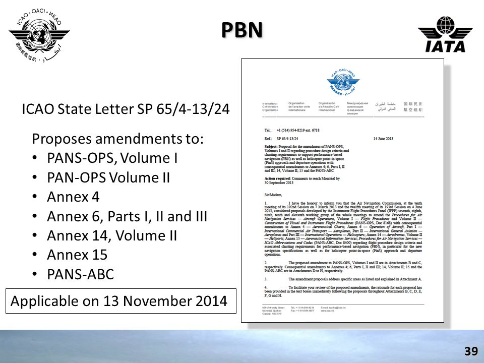 PBNPBN39 ICAO State Letter SP 65/4-13/24 Proposes amendments to: PANS-OPS, Volume I PAN-OPS Volume II Annex 4 Annex 6, Parts I, II and III Annex 14, Volume II Annex 15 PANS-ABC Applicable on 13 November 2014