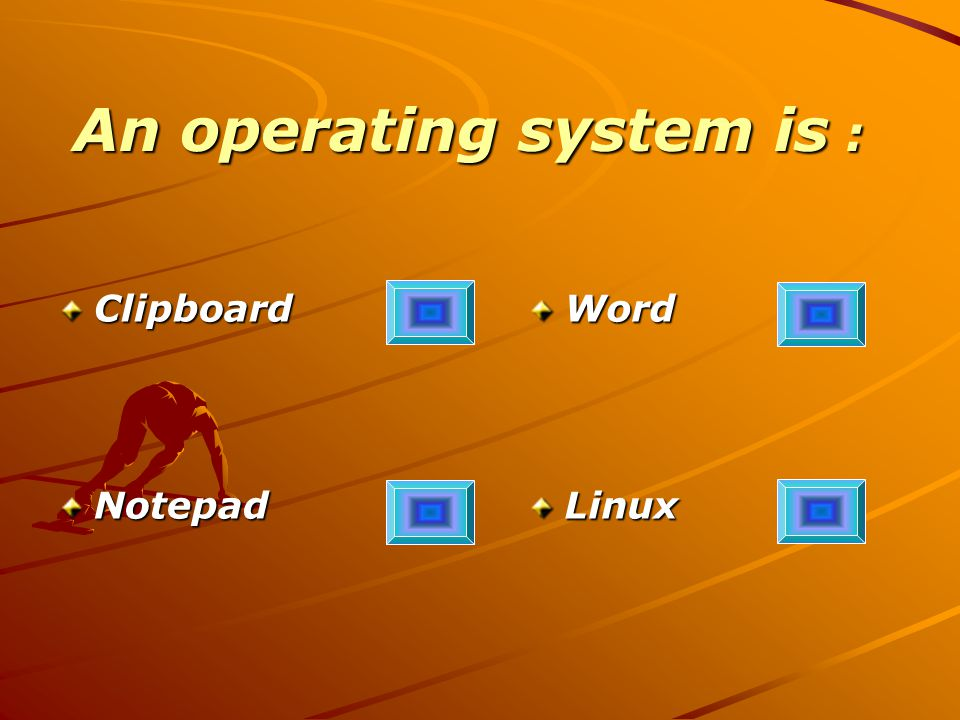 An operating system is : ClipboardNotepadWordLinux