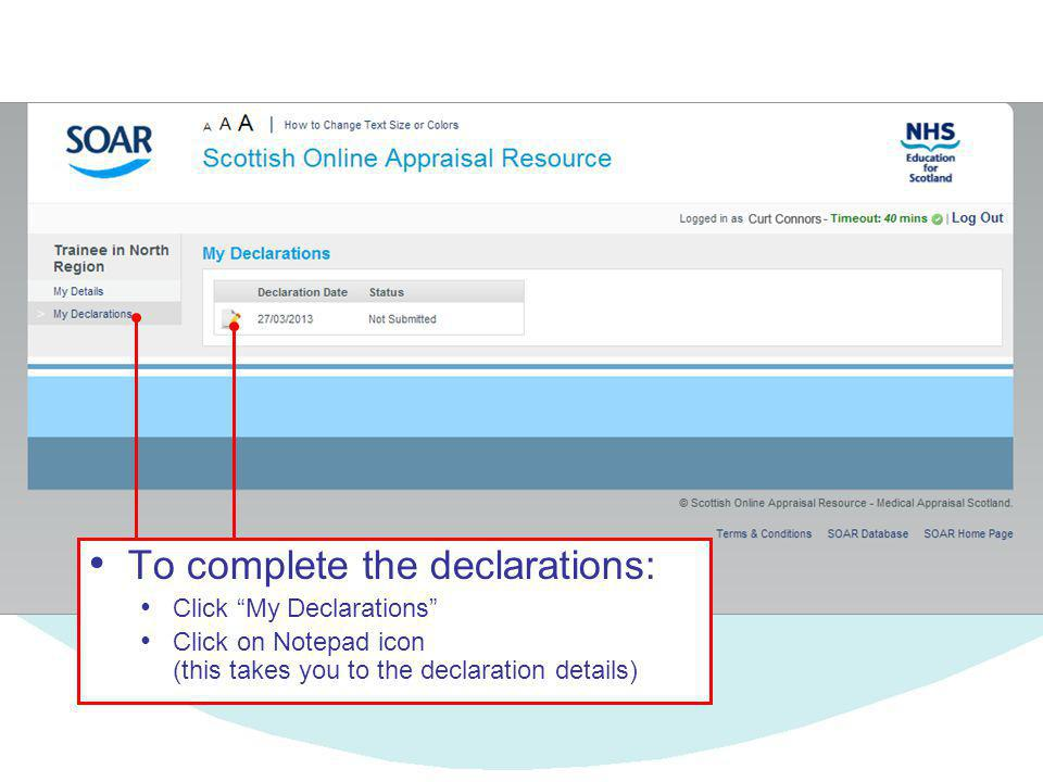 To complete the declarations: Click My Declarations Click on Notepad icon (this takes you to the declaration details)