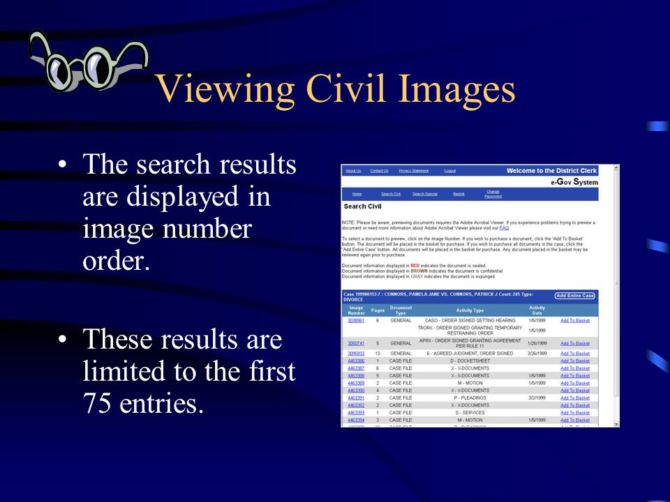 Viewing Civil Images The search results are displayed in image number order. These results are limited to the first 75 entries.