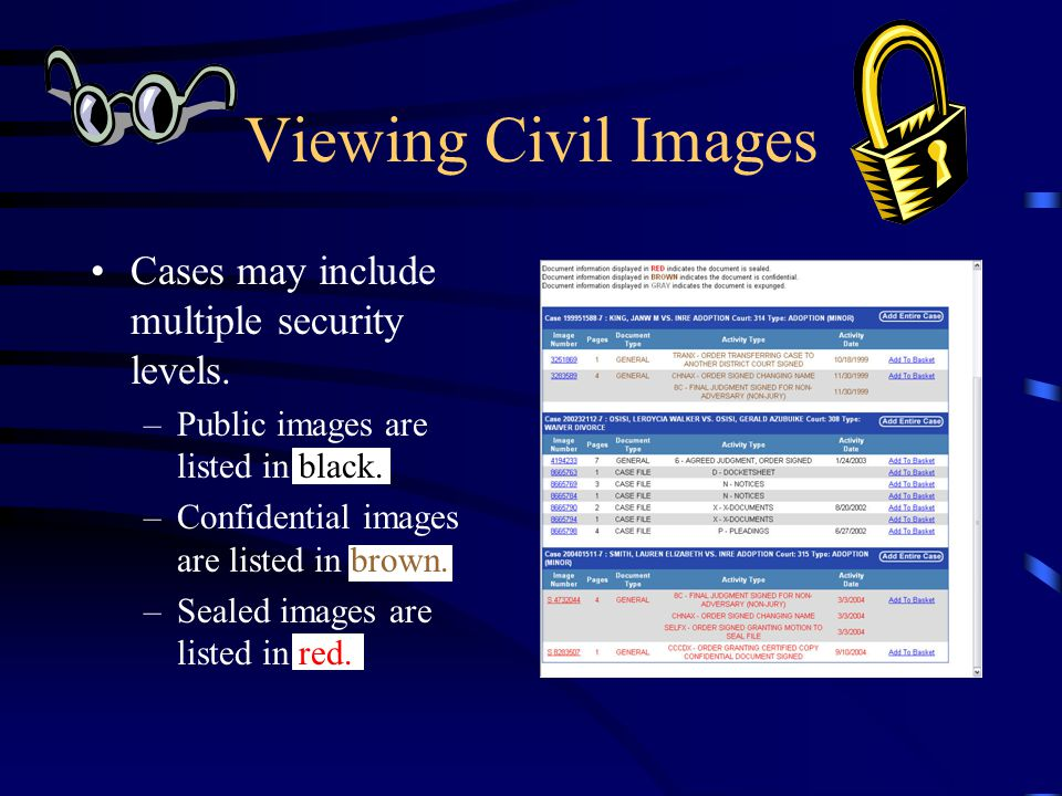 Viewing Civil Images Cases may include multiple security levels. –Public images are listed in black. –Confidential images are listed in brown. –Sealed