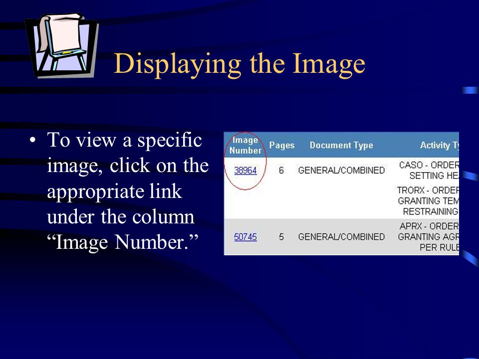 "Displaying the Image To view a specific image, click on the appropriate link under the column ""Image Number."""