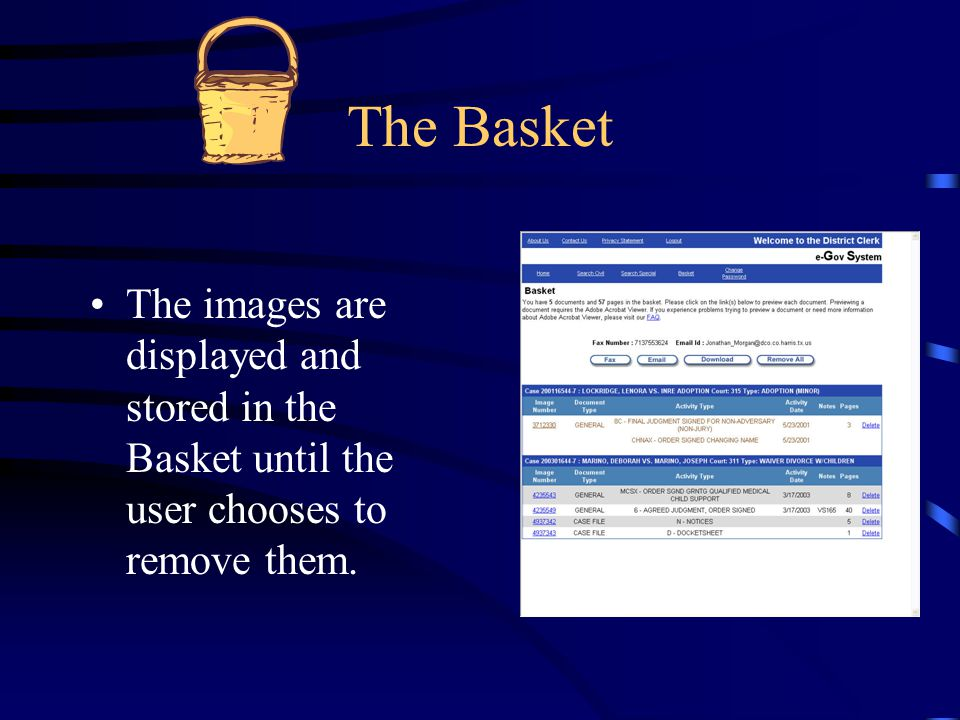 The Basket The images are displayed and stored in the Basket until the user chooses to remove them.