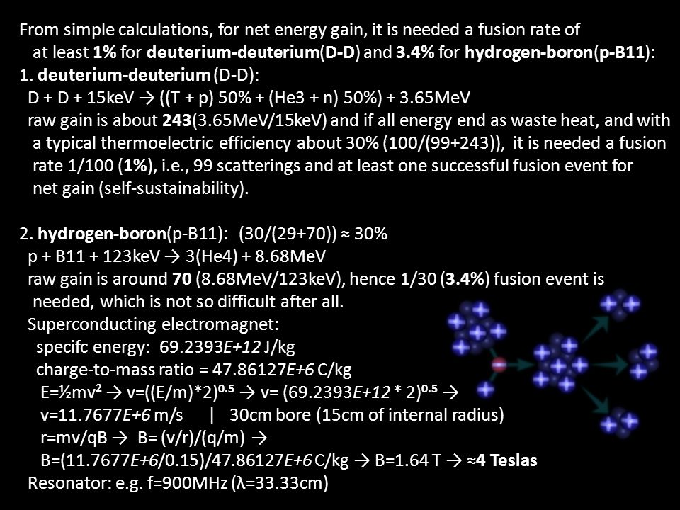 From simple calculations, for net energy gain, it is needed a fusion rate of at least 1% for deuterium-deuterium(D-D) and 3.4% for hydrogen-boron(p-B1