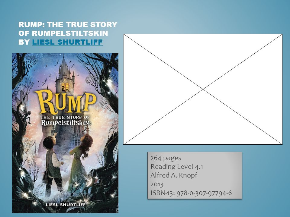 RUMP: THE TRUE STORY OF RUMPELSTILTSKIN BY LIESL SHURTLIFFLIESL SHURTLIFF 264 pages Reading Level 4.1 Alfred A.