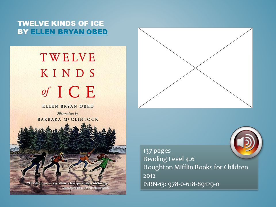 TWELVE KINDS OF ICE BY ELLEN BRYAN OBEDELLEN BRYAN OBED 137 pages Reading Level 4.6 Houghton Mifflin Books for Children 2012 ISBN-13: 978-0-618-89129-0 137 pages Reading Level 4.6 Houghton Mifflin Books for Children 2012 ISBN-13: 978-0-618-89129-0