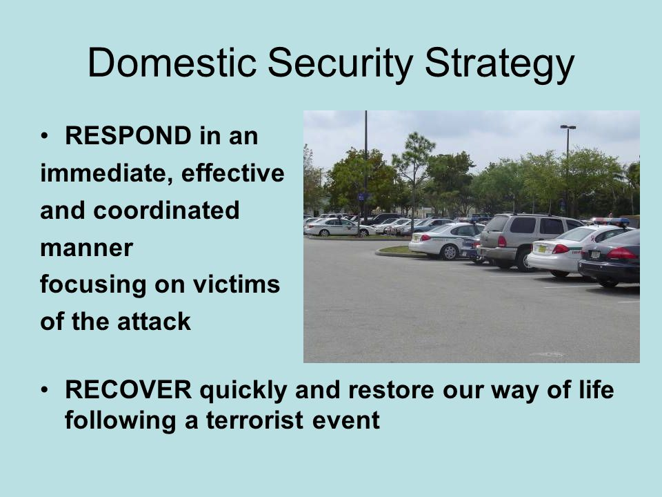 Domestic Security Strategy RESPOND in an immediate, effective and coordinated manner focusing on victims of the attack RECOVER quickly and restore our way of life following a terrorist event