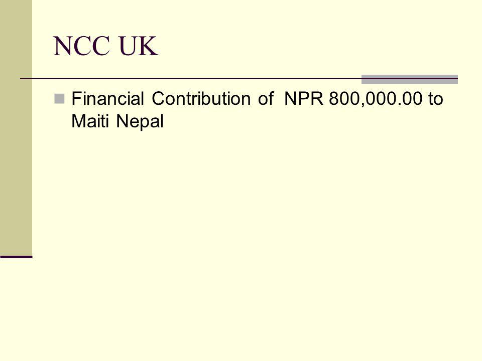 NCC Russia Donation of 10 computers to Samata School, Melamchi Sindhupalchowk Financial contribution of 450,000.00 NPR to Nepal Bahira School to buy an ambulance