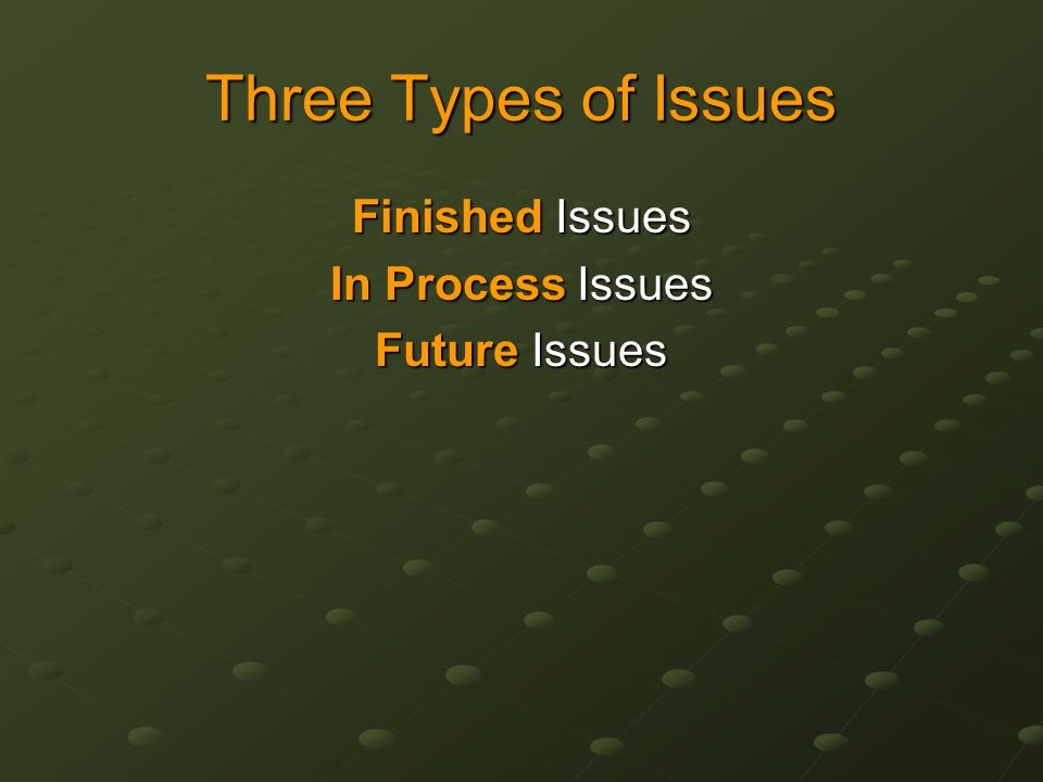 Three Types of Issues Finished Issues In Process Issues Future Issues
