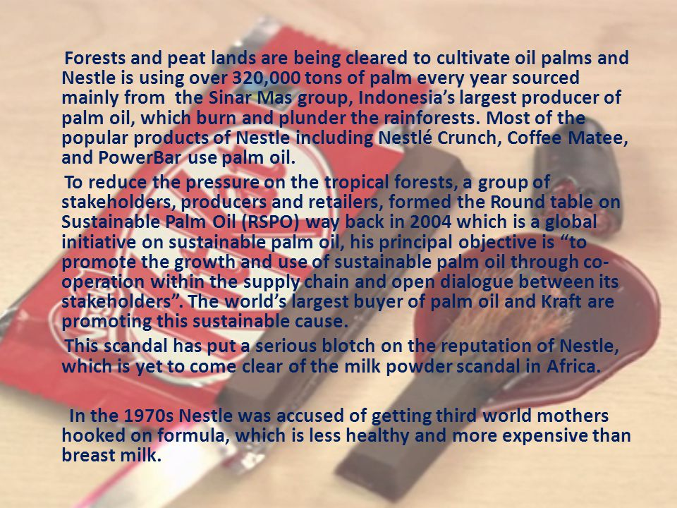 Forests and peat lands are being cleared to cultivate oil palms and Nestle is using over 320,000 tons of palm every year sourced mainly from the Sinar Mas group, Indonesia's largest producer of palm oil, which burn and plunder the rainforests.