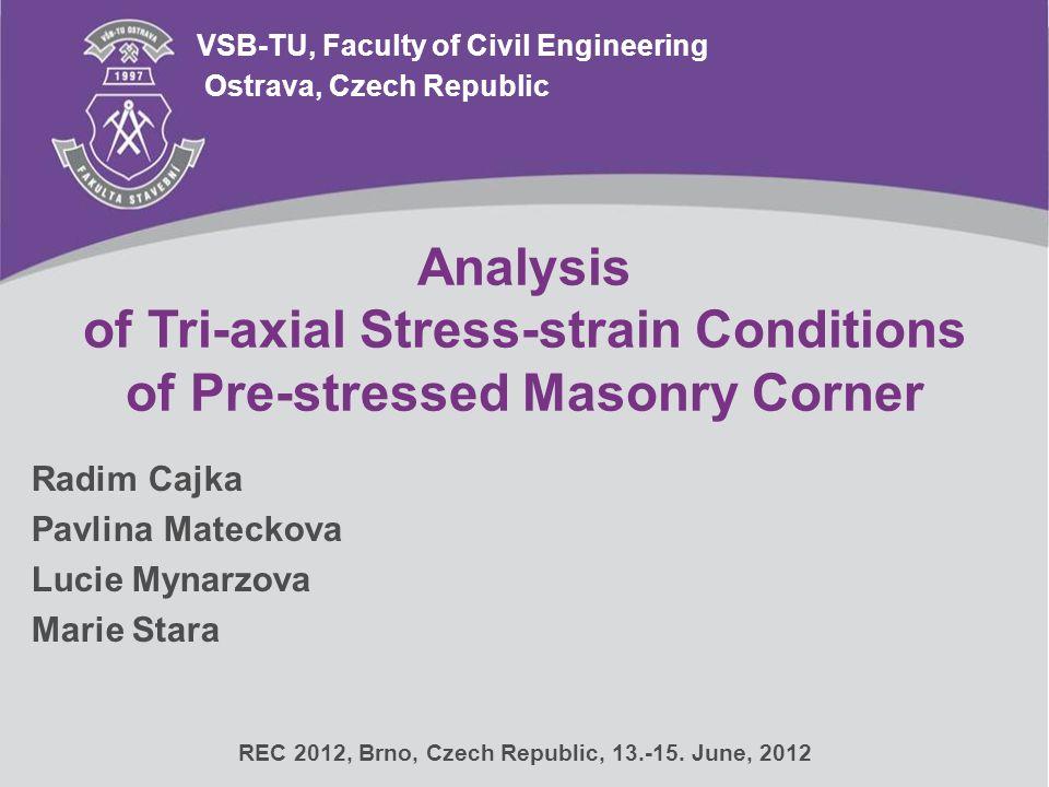 Analysis of Tri-axial Stress-strain Conditions of Pre-stressed Masonry Corner VSB-TU, Faculty of Civil Engineering Radim Cajka Pavlina Mateckova Lucie