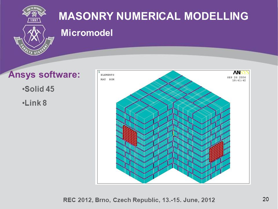 MASONRY NUMERICAL MODELLING Micromodel 20 REC 2012, Brno, Czech Republic, 13.-15. June, 2012 Ansys software: Solid 45 Link 8