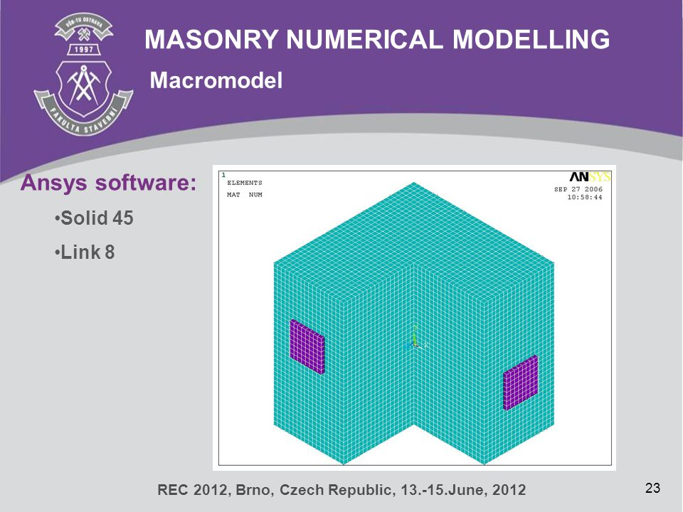 MASONRY NUMERICAL MODELLING Macromodel 23 REC 2012, Brno, Czech Republic, 13.-15.June, 2012 Ansys software: Solid 45 Link 8