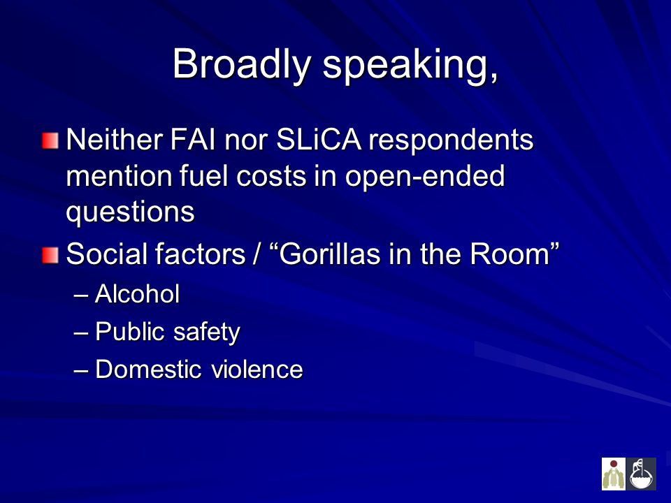 """Broadly speaking, Neither FAI nor SLiCA respondents mention fuel costs in open-ended questions Social factors / """"Gorillas in the Room"""" –Alcohol –Publi"""