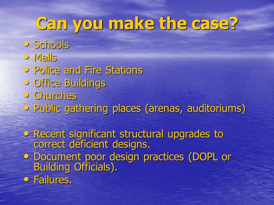 Can you make the case? Schools Schools Malls Malls Police and Fire Stations Police and Fire Stations Office Buildings Office Buildings Churches Church