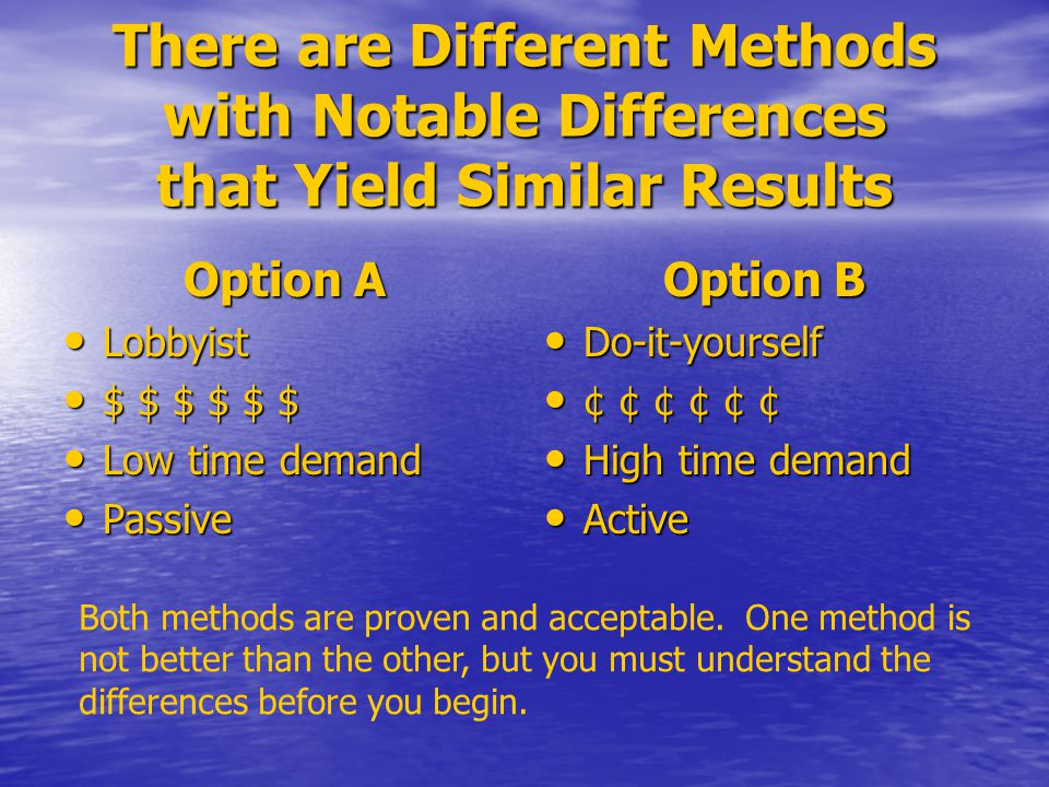 There are Different Methods with Notable Differences that Yield Similar Results Option A Lobbyist Lobbyist $ $ $ $ $ $ $ $ $ $ $ $ Low time demand Low time demand Passive Passive Option B Do-it-yourself Do-it-yourself ¢ ¢ ¢ ¢ ¢ ¢ ¢ ¢ ¢ ¢ ¢ ¢ High time demand High time demand Active Active Both methods are proven and acceptable.