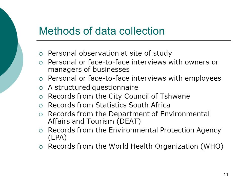 Methods of data collection  Personal observation at site of study  Personal or face-to-face interviews with owners or managers of businesses  Personal or face-to-face interviews with employees  A structured questionnaire  Records from the City Council of Tshwane  Records from Statistics South Africa  Records from the Department of Environmental Affairs and Tourism (DEAT)  Records from the Environmental Protection Agency (EPA)  Records from the World Health Organization (WHO) 11