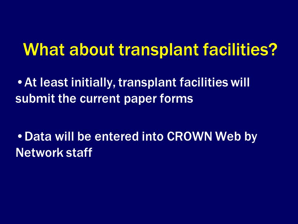 What about transplant facilities.