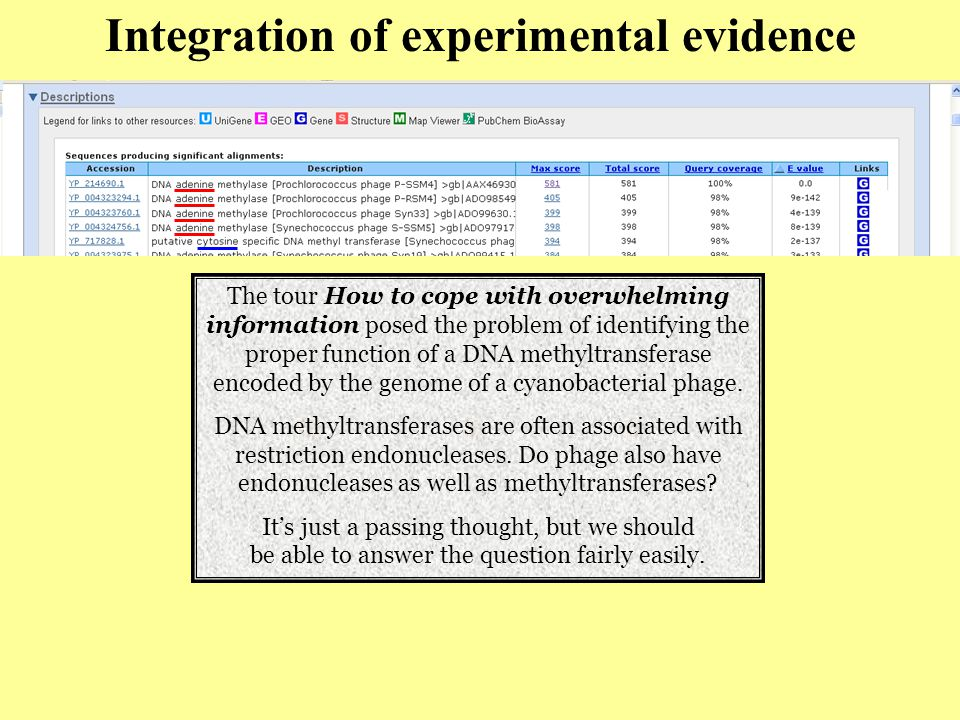 Integration of experimental evidence The tour How to cope with overwhelming information posed the problem of identifying the proper function of a DNA