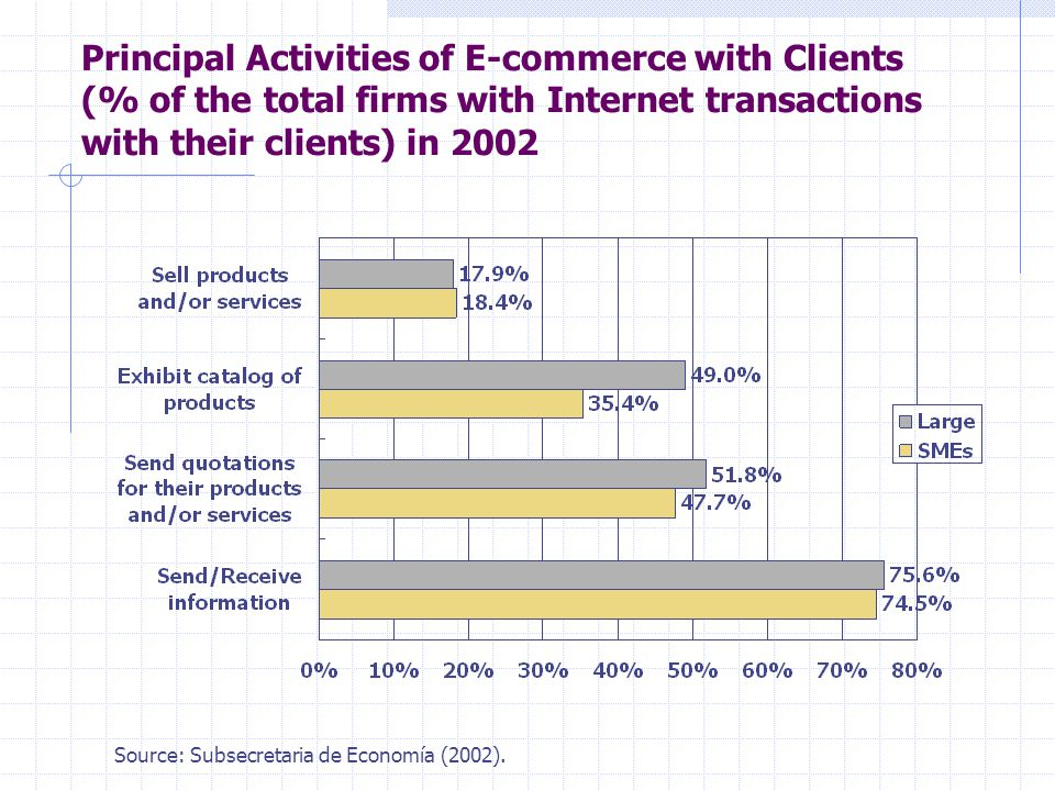 Principal Activities of E-commerce with Clients (% of the total firms with Internet transactions with their clients) in 2002 Source: Subsecretaria de Economía (2002).