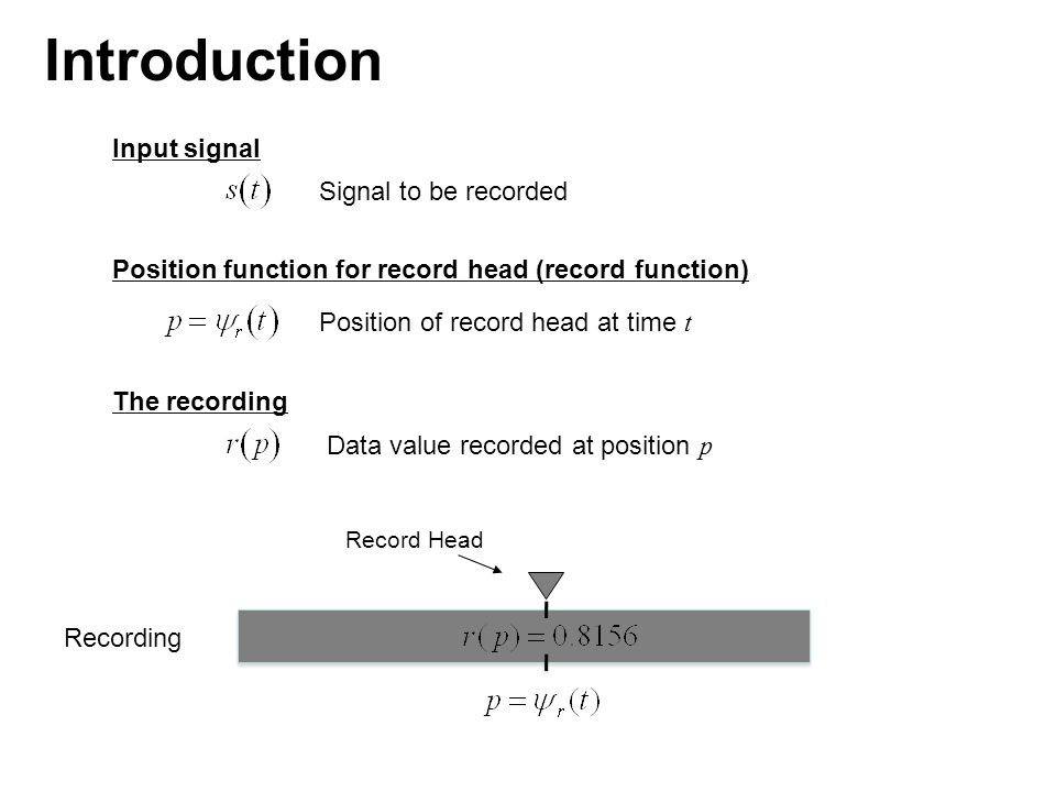 Because and the record function Ψ r is assumed invertible, we have or Recording Record Head Introduction