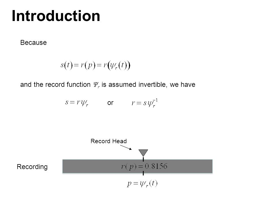 we have Combining this with our previous expression for r gives Position function for playback head (playback function) Position of playback head at time t Played-back signal Signal played back from the recording Because Introduction