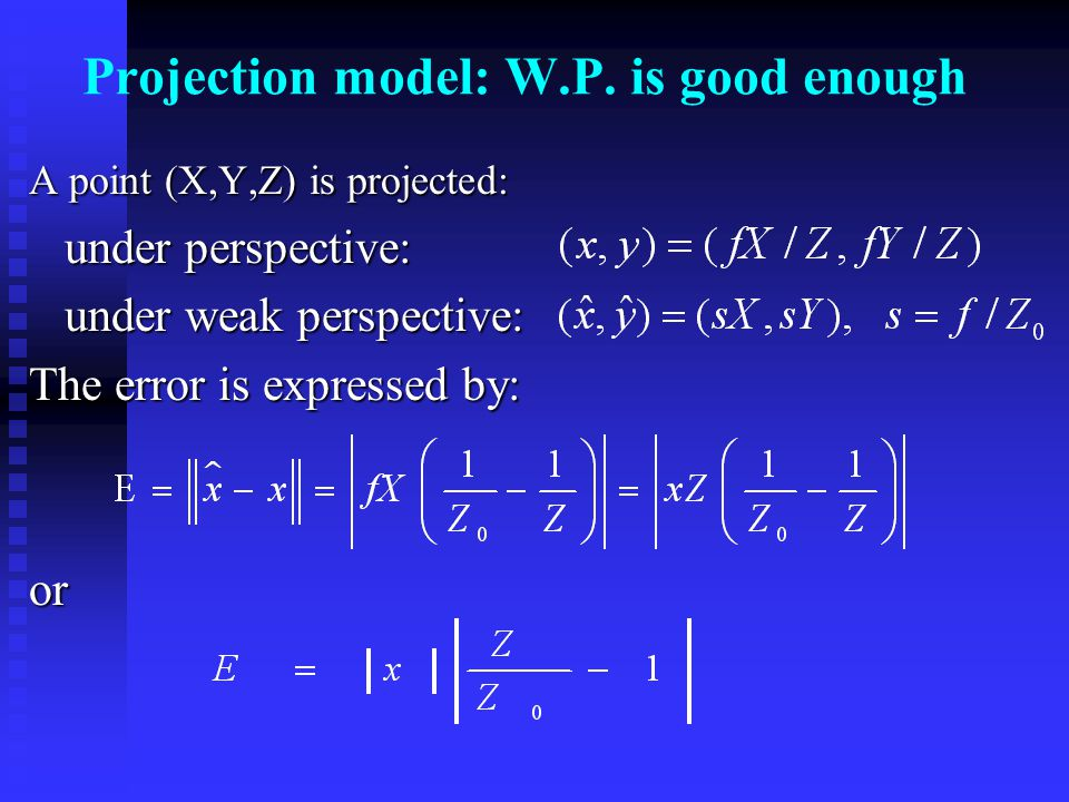 Projection model: W.P.