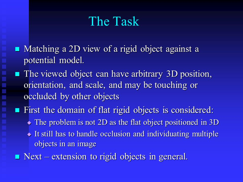 The Task Matching a 2D view of a rigid object against a potential model.