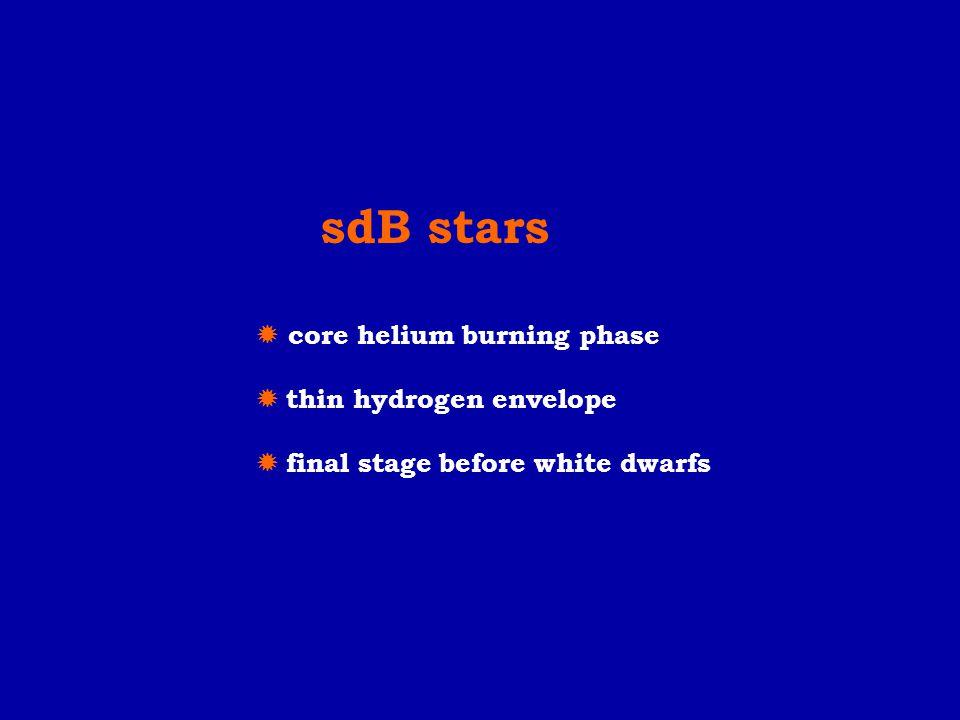 sdB stars  core helium burning phase  thin hydrogen envelope  final stage before white dwarfs