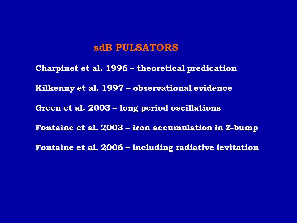 sdB PULSATORS Charpinet et al. 1996 – theoretical predication Kilkenny et al. 1997 – observational evidence Green et al. 2003 – long period oscillatio