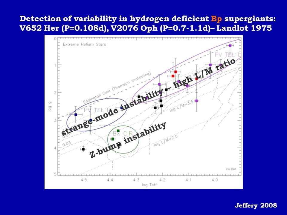 Detection of variability in hydrogen deficient Bp supergiants: V652 Her (P=0.108d), V2076 Oph (P=0.7-1.1d)– Landlot 1975 Jeffery 2008 strange-mode ins