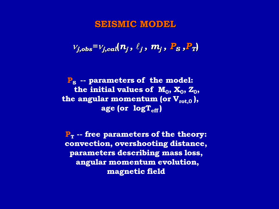 P S -- parameters of the model: the initial values of M 0, X 0, Z 0, the angular momentum (or V rot,0 ), age (or logT eff ) SEISMIC MODEL j,obs = j,ca