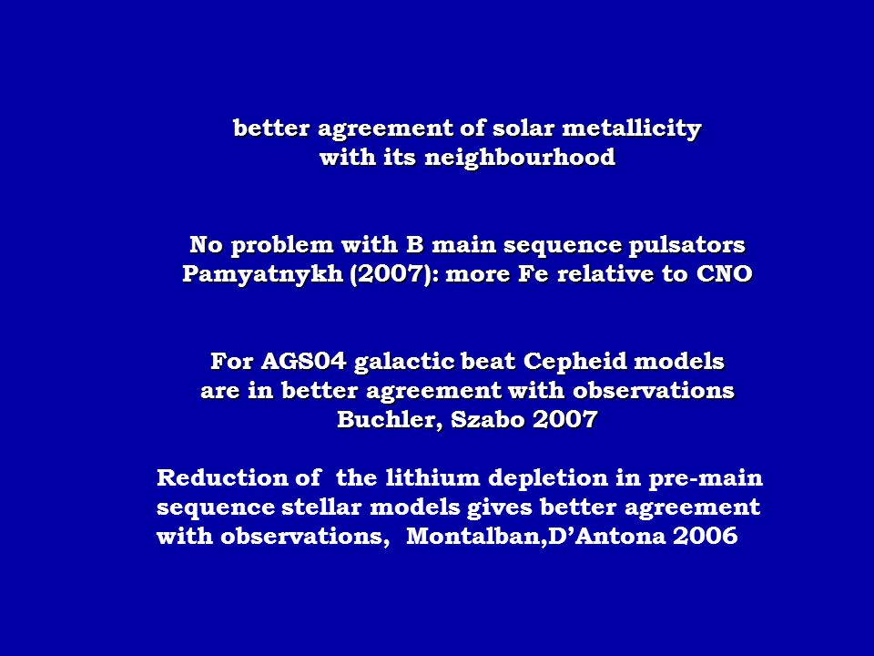 better agreement of solar metallicity with its neighbourhood No problem with B main sequence pulsators Pamyatnykh (2007): more Fe relative to CNO For