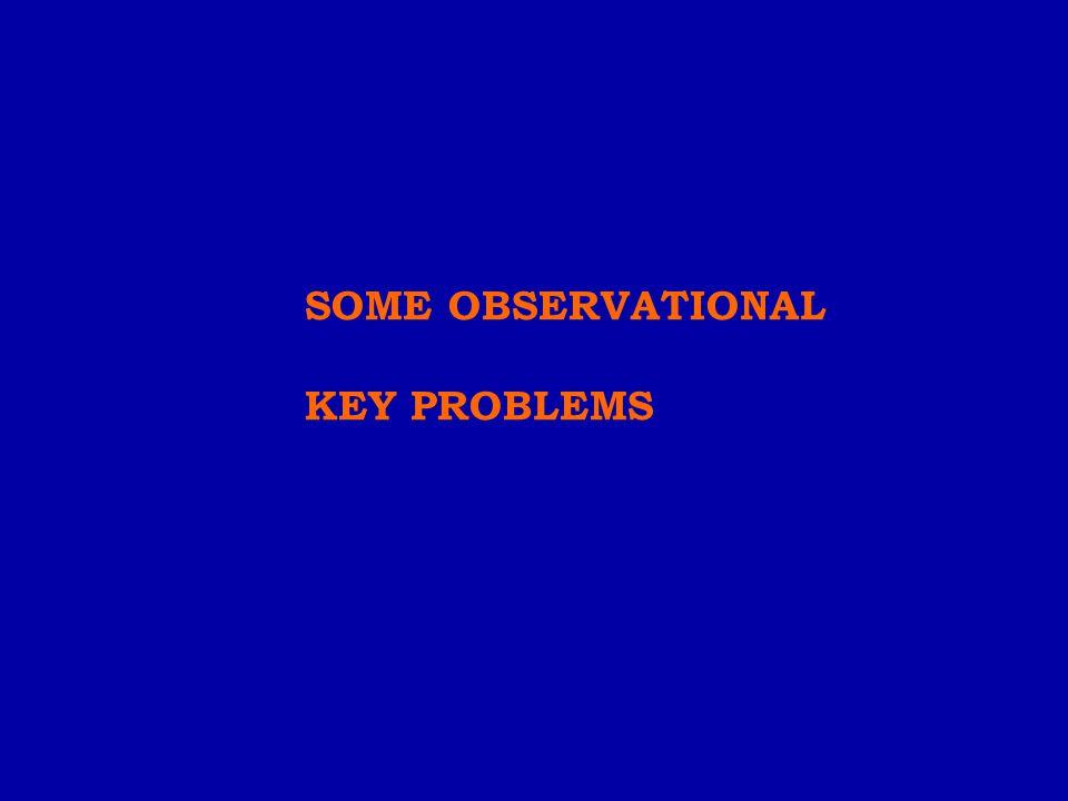 SOME OBSERVATIONAL KEY PROBLEMS