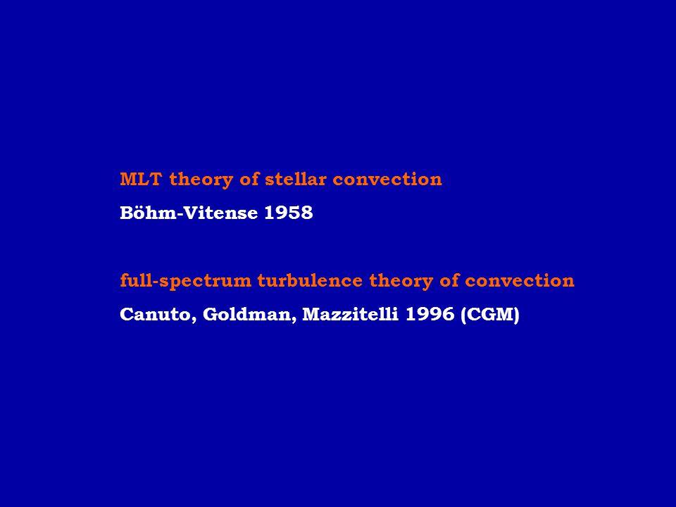 MLT theory of stellar convection Böhm-Vitense 1958 full-spectrum turbulence theory of convection Canuto, Goldman, Mazzitelli 1996 (CGM)