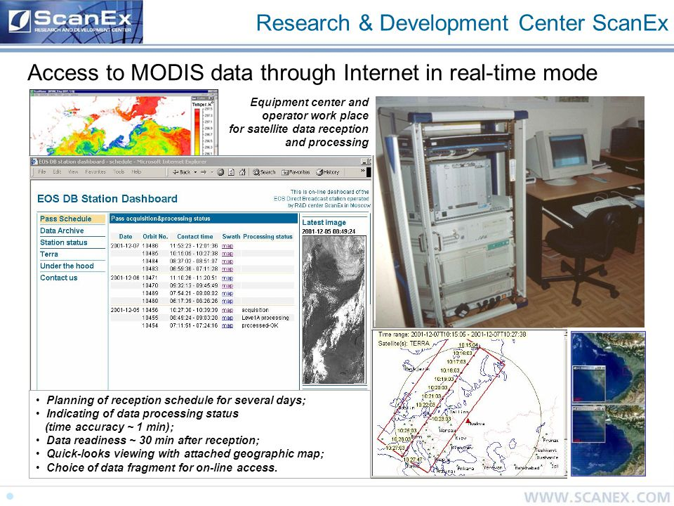 Research & Development Center ScanEx Access to MODIS data through Internet in real-time mode Equipment center and operator work place for satellite data reception and processing On-line access to MODIS data http://eostation.scanex.ru Planning of reception schedule for several days; Indicating of data processing status (time accuracy ~ 1 min); Data readiness ~ 30 min after reception; Quick-looks viewing with attached geographic map; Choice of data fragment for on-line access.