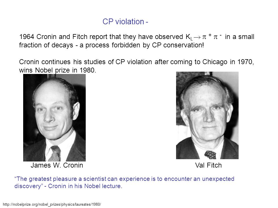 CP violation - 1964 Cronin and Fitch report that they have observed K L   +  - in a small fraction of decays - a process forbidden by CP conservation.