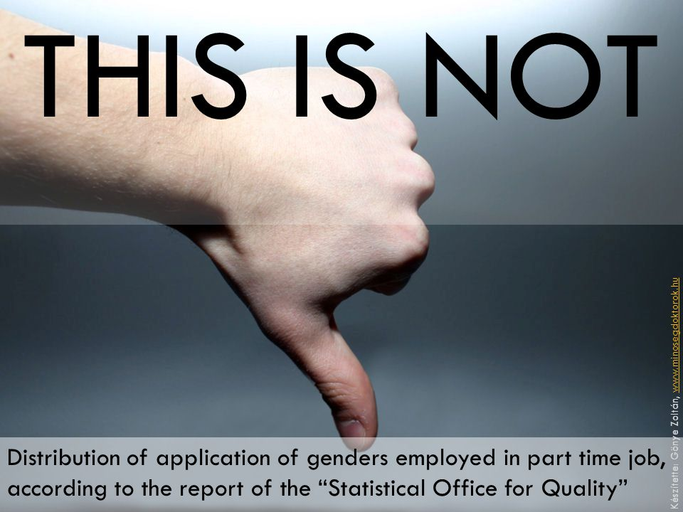 """THIS IS NOT Distribution of application of genders employed in part time job, according to the report of the """"Statistical Office for Quality"""" Készítet"""