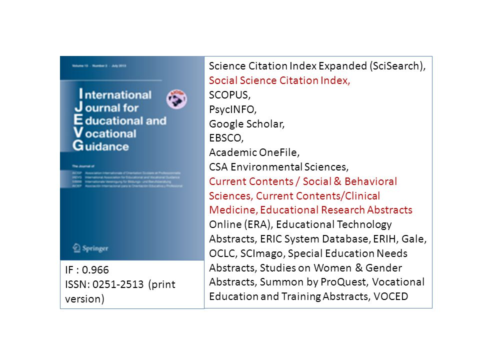 IF : 0.966 ISSN: 0251-2513 (print version) Science Citation Index Expanded (SciSearch), Social Science Citation Index, SCOPUS, PsycINFO, Google Schola